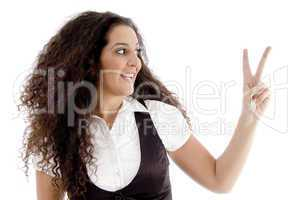 fashionable woman showing peace sign
