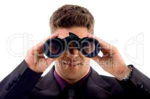 young lawyer viewing through binoculars