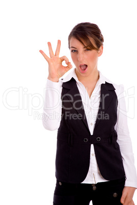 front view of woman showing ok sign