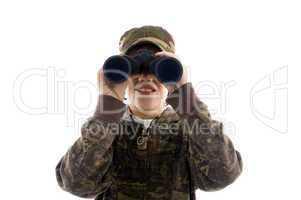 front view boy looking through binoculars