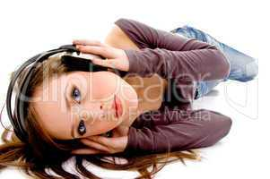 top view of woman holding headphone