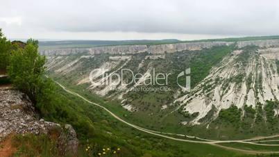 Panoramic view from the Mountains Chufut-kale, Bakhchisaray, Crimea, Ukraine