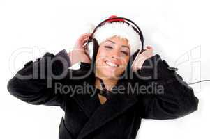 female enjoying music on headphone