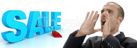 three dimensional sale text with tag and shouting man