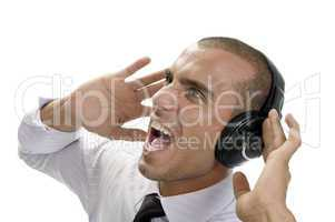 shouting businessman with headphone