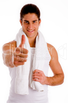 front view of smiling man with thumbs up
