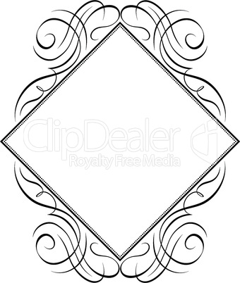 calligraphy frame rhomb diamond pattern black isolated