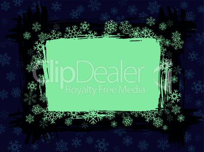 Grungy winter snowflake blue frame pattern background