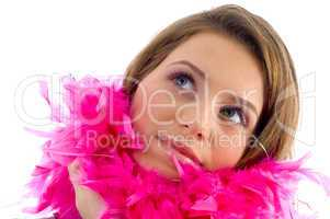 beautiful female wearing feather stole