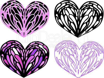 Heart Stained-glass set