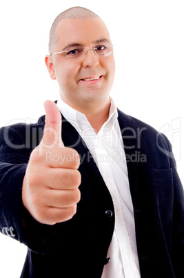experienced handsome service provider with thumbs up