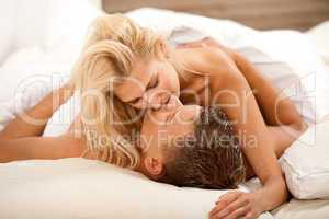 Newlywed couple during sex act