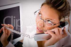 top view of young professional talking on phone