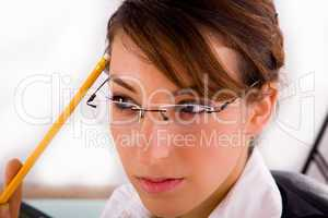 front view of thinking service provider holding a pencil
