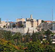 Ancient citadel and Tower of David in Jerusalem seen from Mishkenot Shaananim neighborhood
