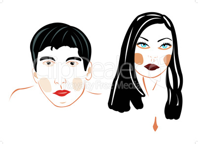 Illustration male and feminine person