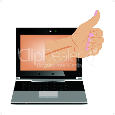 Computer and hand with gesture