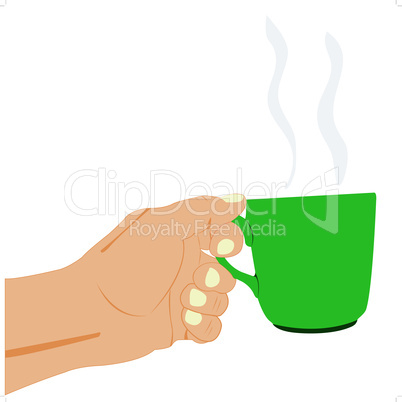 Hand with cup of the hot drink