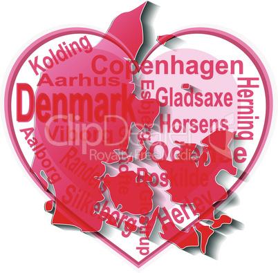 denmark in heart. Icon of denmark national flag. vector