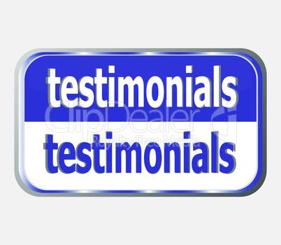 blue Button glossy Web icon testimonials button