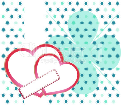 Valentines Day background with Hearts and floral pattern