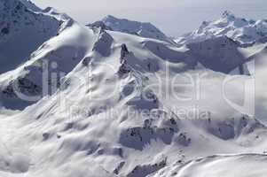 Snowy slopes of Caucasus Mountains