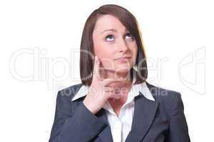Geschäftsfrau ist in Gedanken versunken