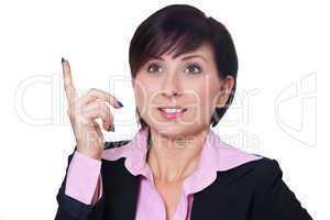 Geschäftsfrau hebt den Finger