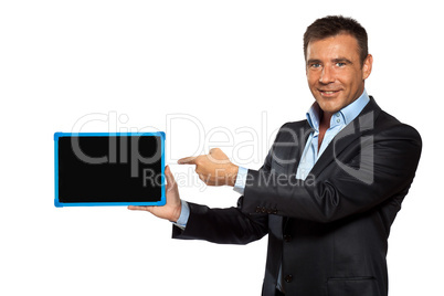 one  business man pointing blackboard message copy space