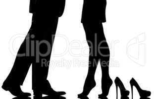 detail legs feet couple man and woman lovers teenderness