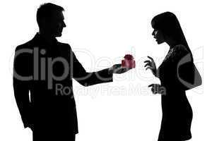 one couple lovers man offering present gift and woman happy surp