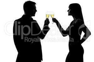 one couple man and woman drinking champagne partying toasting