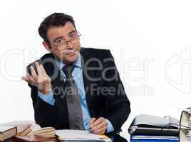 business Man writing busy business paperwork
