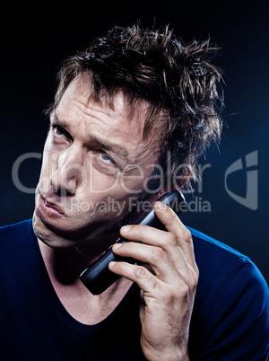 Funny Man Portrait Phoning