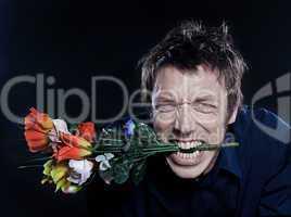 Funny Man Portrait offering flowers