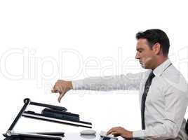 Man computing computer conflict bug concept