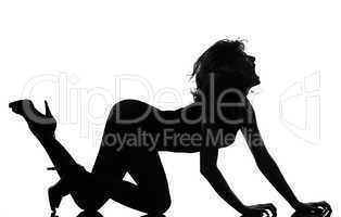 silhouette woman crouching roar