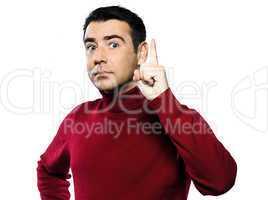 caucasian man gesture beckoning finger raised