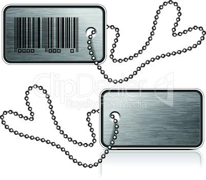 Metallic tag and chain