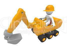 Worker with a digger