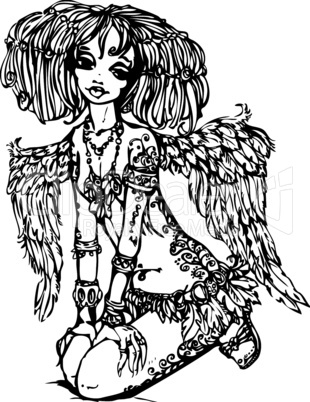 Angel girl with tattoo on her body