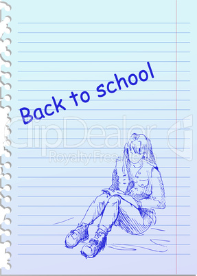back to school illustration with hand-drawn girl
