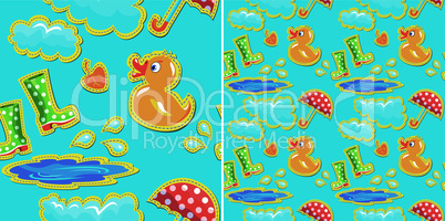 seamless pattern with rubber duck and boots, clouds, umbrella and puddle