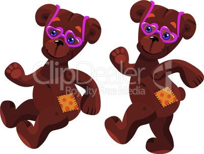 A happy cartoon teddy bear with pink heart