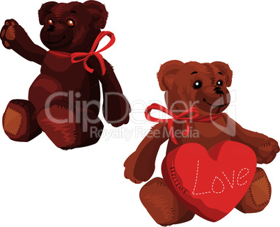 Cute Teddy Bear with red love heart - 2 soft toys