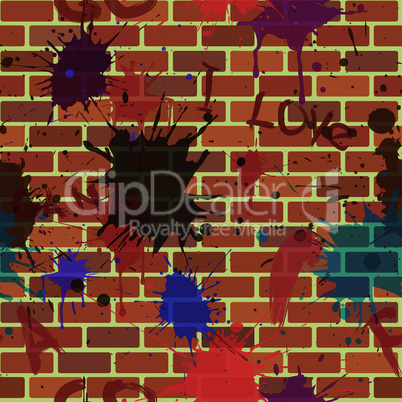 seamless dirty street brick wall with graffiti and colour paint blot
