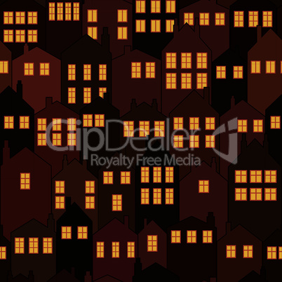 seamless night city house background pattern