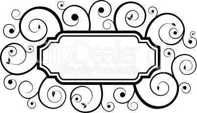 black floral swirl frame pattern isolated