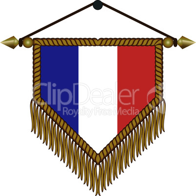 pennant with the national flag of France