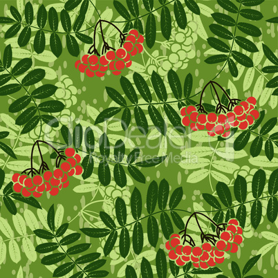 background of red rowan seamless pattern